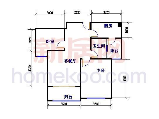 B-1户型图2室2厅1卫1厨 87�O