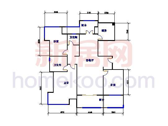 C-1户型图3室2厅2卫1厨 139�O