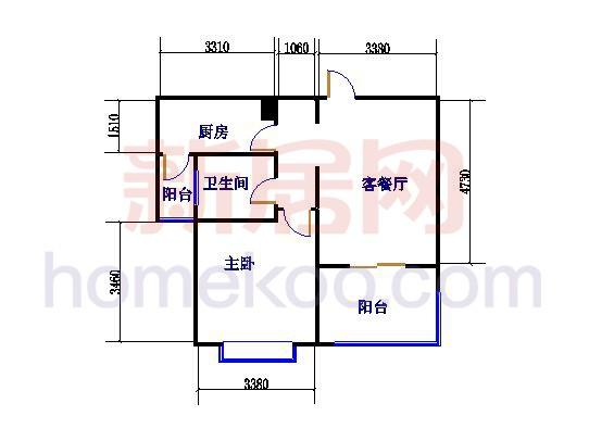 F户型1室2厅1卫 67�O