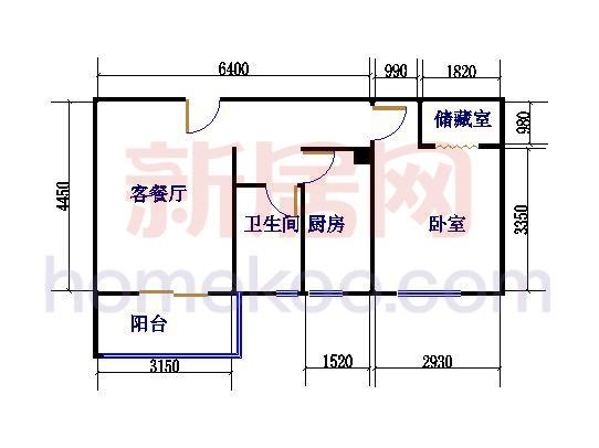 D2户型1室1厅1卫 67�O