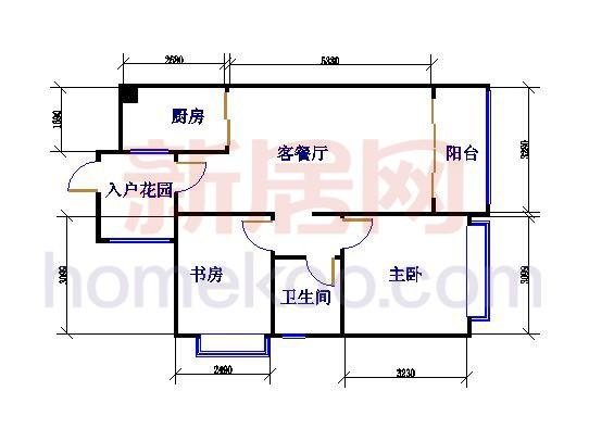 浪漫满屋(两房)户型图85�O