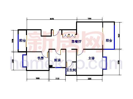 E1藤花往事户型2室2厅1卫 93�O