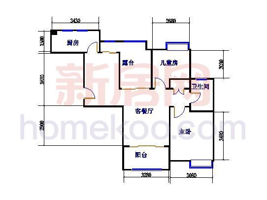 G4户型2室2厅1卫 89�O