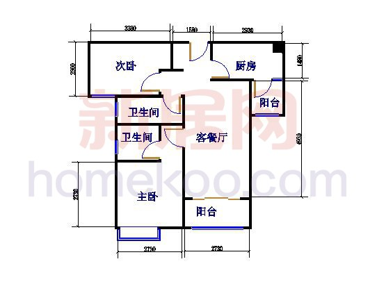 B2户型2室2厅2卫89.67�O