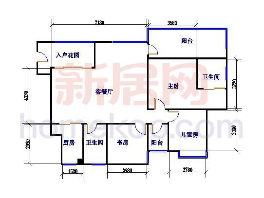 三房两厅两室户型图