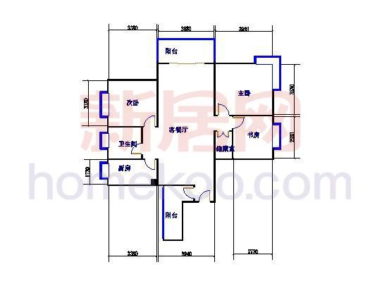 A20户型3室2厅1卫 126�O