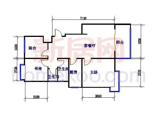 C1 2+1房 2室2厅1卫 88�O