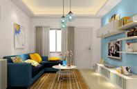 淡蓝色简约--客厅效果图