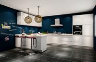 郁蓝色 白色 黑灰色 厨房
