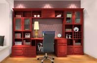 仿红木中式书柜效果图