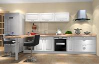 L型开放型厨房效果图(含吧台设计)