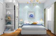 田园风格 清新蓝色卧室装修效果图