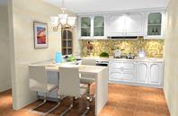 U型开放式厨房效果图