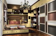 组合式衣柜效果图 含有书桌书柜功能