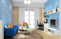 天蓝色的创意客厅装修效果图