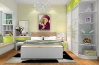 绿白小清新的卧室装修效果图