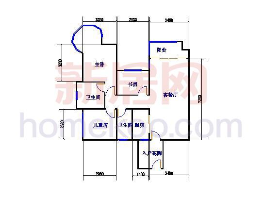 二期13座0304单元3室2厅2卫1厨99�O