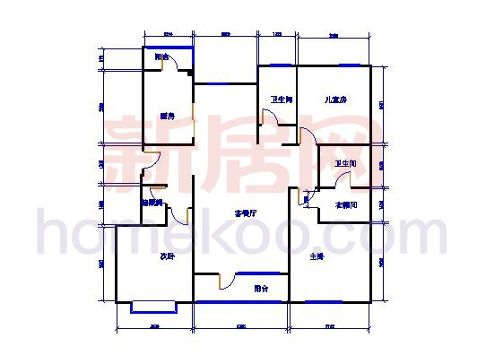 5-H户型3室2厅2卫1厨 140�O