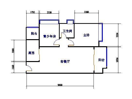 E地1-2栋3-15层0102 2室2厅1卫1厨