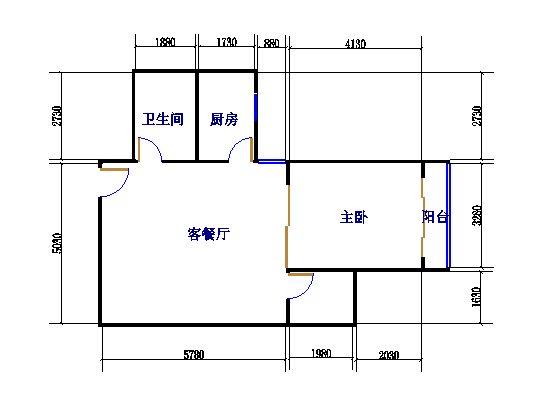 温馨小筑1室1厅1卫1厨 70�O