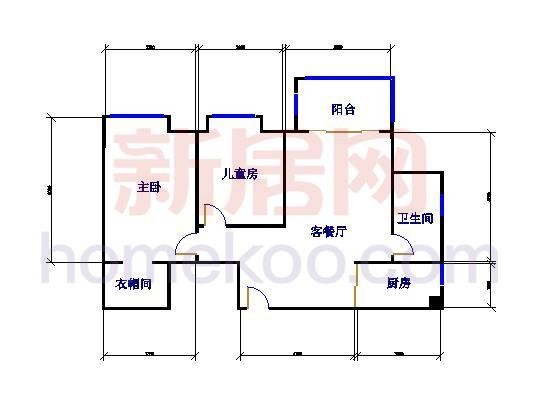 B1、B11栋02单位室2厅1卫1厨 82�O
