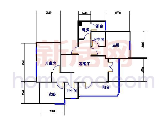 3-6号楼D1 3室2厅2卫1厨 111�O