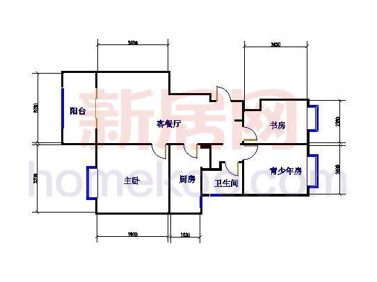 5、6、7号楼B07户型三房两厅 88�O