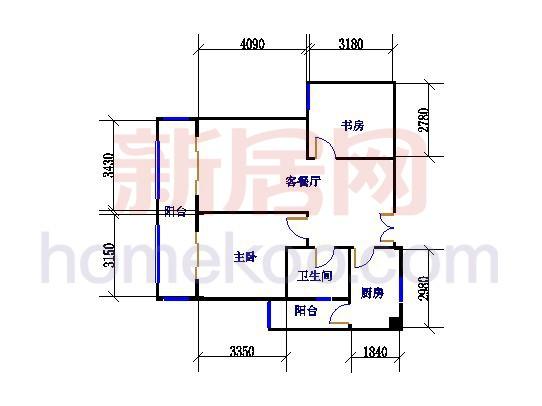 B户型两房两厅 81.67�O