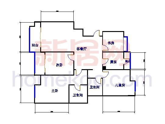C2户型3室2厅2卫1厨 136�O