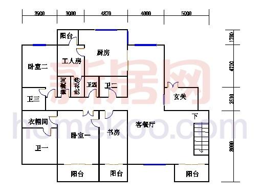 E-1户型复式上层(入户层)