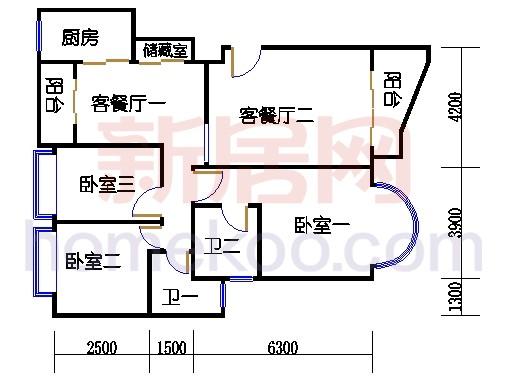 凯雅庭B1-B3栋标准层02-11层