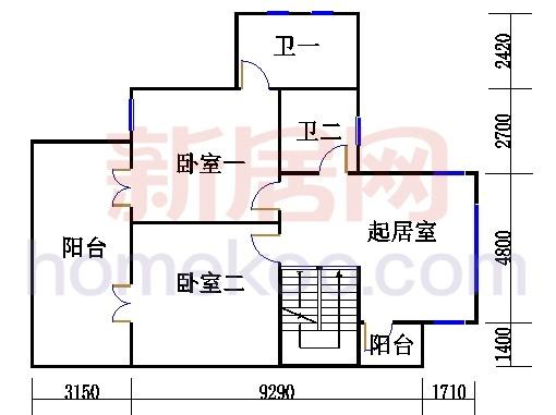 联排别墅A户型二层
