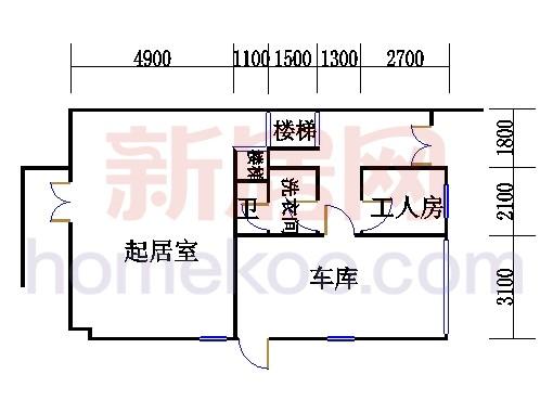 E型双拼别墅1层02单元