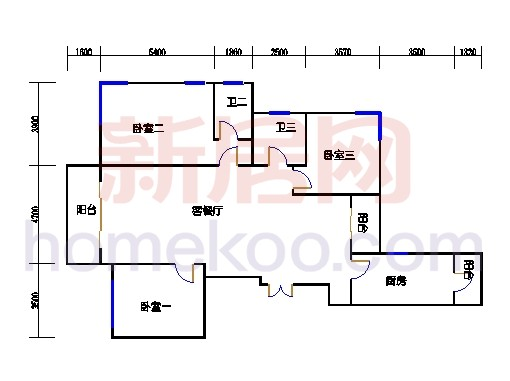 B1型5号楼3单元02室偶数层
