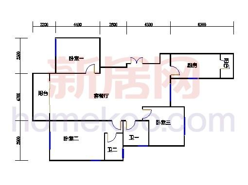 B2型5号楼3单元01室奇数层