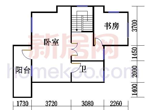 C1排屋边套单元三层