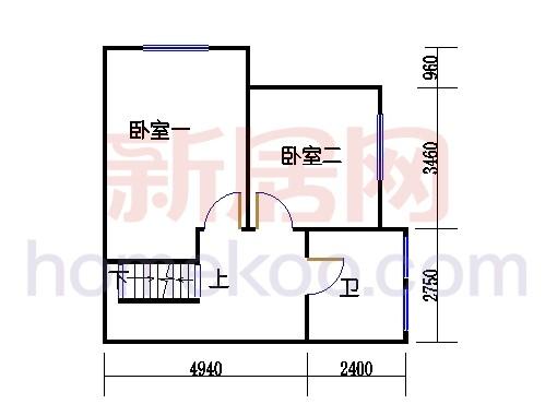 C2排屋边套单元二层