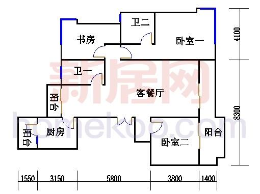 天风庭5号标准层D单元