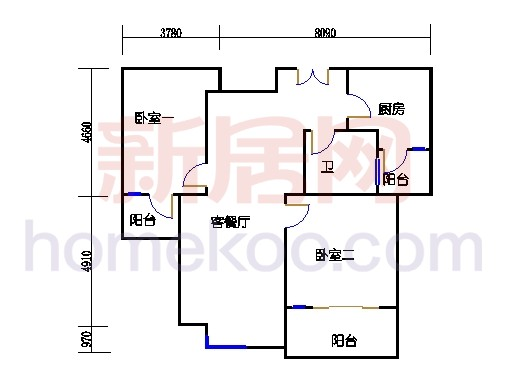 1#楼标准层平面图A2单元