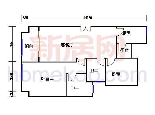 2#楼标准层平面图A15单元