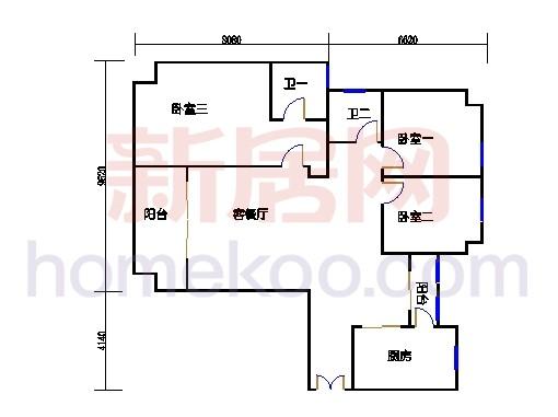 2#楼标准层平面图B14单元