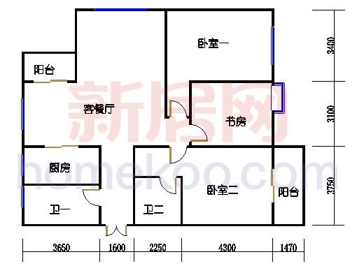 4号楼东边套、1层FE单元