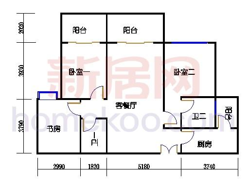 一期北区6号楼奇数层6-b2单位