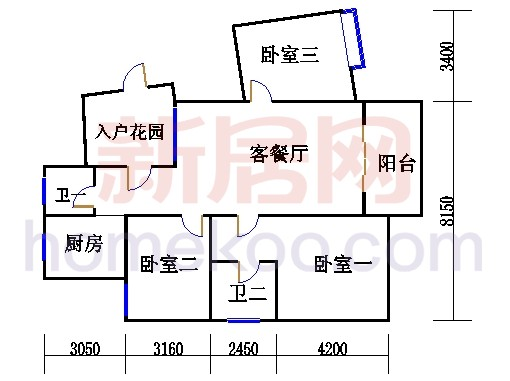 枫江苑2#楼单数层B4单元