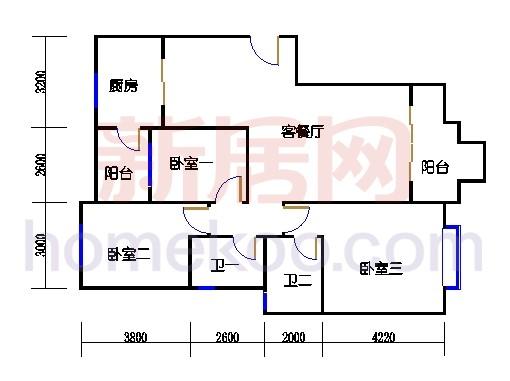 A1-1 型标准层户型3D户型图