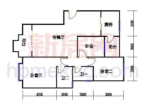 A2-1 型标准层户型3D户型图