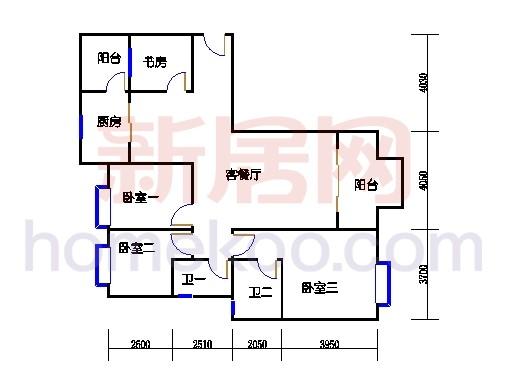 C1-1 型标准层户型3D户型图