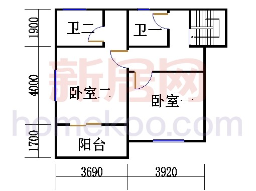 2-3层3E-fb单元复式二层