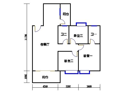 1座4.5梯3-5层A单元303-503