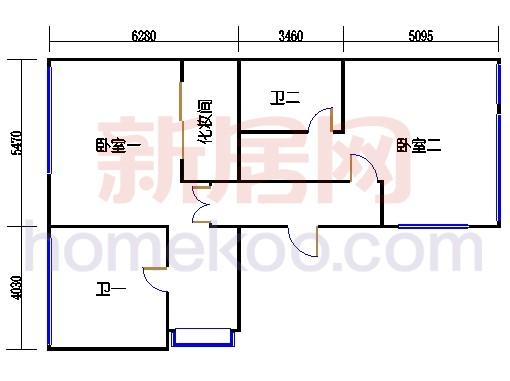 B型双拼电梯别墅主居层(三层)